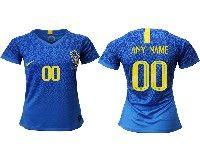 Women 19-20 Soccer Brazil National Team ( Custom Made ) Blue Away Nike Short Sleeve Jersey