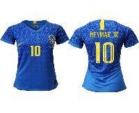 Women 19-20 Soccer Brazil National Team #10 Neymar Jr Blue Away Nike Short Sleeve Jersey