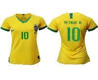 Women 19-20 Soccer Brazil National Team #10 Neymar Jr Yellow Home Nike Short Sleeve Jersey
