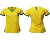 Women 19-20 Soccer Brazil National Team Blank Yellow Home Nike Short Sleeve Jersey