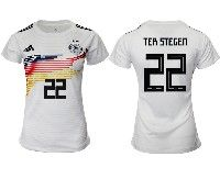 Women 19-20 Soccer Germany Ntaional Team #22 Marc-andre Ter Stegen White Home Adidas Short Sleeve Jersey