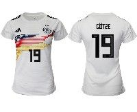 Women 19-20 Soccer Germany Ntaional Team #19 Mario Gotze White Home Adidas Short Sleeve Jersey