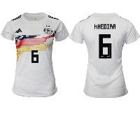 Women 19-20 Soccer Germany Ntaional Team #6 Sami Khedira White Home Adidas Short Sleeve Jersey