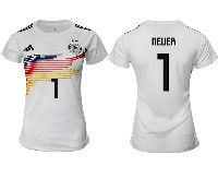 Women 19-20 Soccer Germany Ntaional Team #1 Manuel Neuer White Home Adidas Short Sleeve Jersey