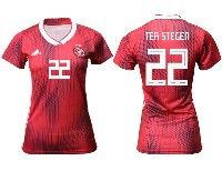 Women 19-20 Soccer Germany Ntaional Team #22 Marc-andre Ter Stegen Adidas Red Away Short Sleeve Jersey