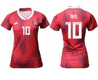 Women 19-20 Soccer Germany Ntaional Team #10 Mesut Ozil Adidas Red Away Short Sleeve Jersey