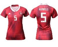 Women 19-20 Soccer Germany Ntaional Team #5 Mats Hummels Adidas Red Away Short Sleeve Jersey