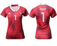 Women 19-20 Soccer Germany Ntaional Team #1 Manuel Neuer Adidas Red Away Short Sleeve Jersey