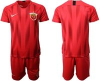 Mens 19-20 Soccer Club Shanghai Sipg (custom Made) Red Home Short Sleeve Suit Jersey