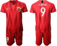 Mens 19-20 Soccer Club Shanghai Sipg #9 Elkeson Red Home Short Sleeve Suit Jersey