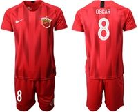 Mens 19-20 Soccer Club Shanghai Sipg #8 Oscar Red Home Short Sleeve Suit Jersey
