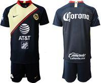 Mens 19-20 Soccer Club De Futbol América ( Custom Made ) Blue Away Short Sleeve Suit Jersey