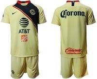 Mens 19-20 Soccer Club De Futbol América ( Custom Made ) Yellow Home Short Sleeve Suit Jersey