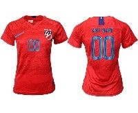 Women 19-20 Soccer Usa National Team ( Custom Made ) Red Away Short Sleeve Jersey