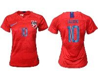 Women 19-20 Soccer Usa National Team #10 Carli Lloyd Red Away Short Sleeve Jersey
