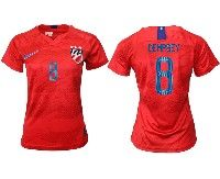 Women 19-20 Soccer Usa National Team #8 Clint Dempsey Red Away Short Sleeve Jersey
