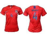 Women 19-20 Soccer Usa National Team #4 Michael Bradley Red Away Short Sleeve Jersey