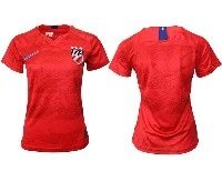 Women 19-20 Soccer Usa National Team Blank Red Away Short Sleeve Jersey
