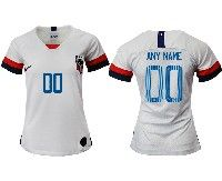 Women 19-20 Soccer Usa National Team ( Custom Made ) White Home Short Sleeve Jersey