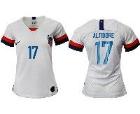 Women 19-20 Soccer Usa National Team #17 Jozy Altidore White Home Short Sleeve Jersey