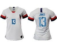 Women 19-20 Soccer Usa National Team #13 Jermaine Jones White Home Short Sleeve Jersey