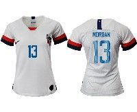 Women 19-20 Soccer Usa National Team #13 Alex Morgan White Home Short Sleeve Jersey