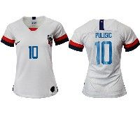 Women 19-20 Soccer Usa National Team #10 Christian Pulisic White Home Short Sleeve Jersey