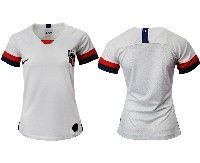 Women 19-20 Soccer Usa National Team Blank White Home Short Sleeve Jersey