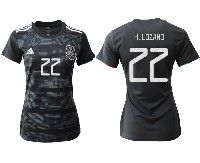 Women 19-20 Soccer Mexico National Team #22 Hirving Lozano Black Home Short Sleeve Jersey