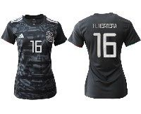 Women 19-20 Soccer Mexico National Team #16 Hector Herrera Black Home Short Sleeve Jersey