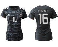 Women 19-20 Soccer Mexico National Team #16 Hector Herrera Black Home Short Sleeve Jersey