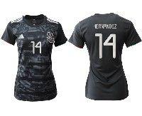 Women 19-20 Soccer Mexico National Team #14 Javier Hernandez Black Home Short Sleeve Jersey