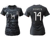 Women 19-20 Soccer Mexico National Team #14 Chicharito Black Home Short Sleeve Jersey