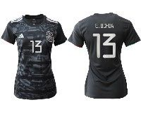 Women 19-20 Soccer Mexico National Team #13 Guillermo Ochoa Black Home Short Sleeve Jersey