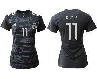 Women 19-20 Soccer Mexico National Team #11 Carlos Vela Black Home Short Sleeve Jersey