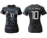 Women 19-20 Soccer Mexico National Team #10 Jonathan Dos Santos Black Home Short Sleeve Jersey