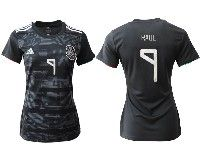 Women 19-20 Soccer Mexico National Team #9 Raul Jimenez Black Home Short Sleeve Jersey