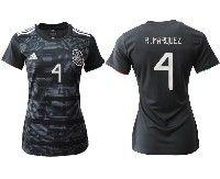Women 19-20 Soccer Mexico National Team #4 Rafael Marquez Alvarez Black Home Short Sleeve Jersey