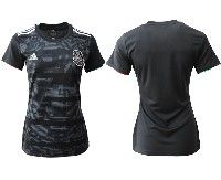 Women 19-20 Soccer Mexico National Team Blank Black Home Short Sleeve Jersey