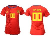 Women 19-20 Soccer Spain National Team ( Custom Made ) Red Home Adidas Short Sleeve Jersey