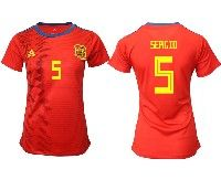 Women 19-20 Soccer Spain National Team #5 Sergio Busquets Red Home Adidas Short Sleeve Jersey