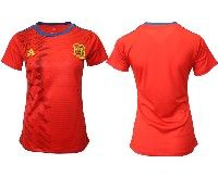 Women 19-20 Soccer Spain National Team Blank Red Home Adidas Short Sleeve Jersey