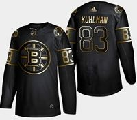 Mens Nhl Boston Bruins #83 Kuhlman 2019 Champion Black Golden Adidas Jersey