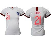 Women 19-20 Soccer England National Team #21 Vardy White Home Short Sleeve Jersey