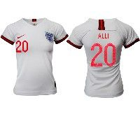 Women 19-20 Soccer England National Team #20 Alli White Home Short Sleeve Jersey