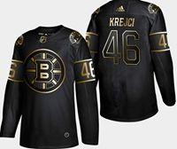 Mens Nhl Boston Bruins #46 Krejci 2019 Champion Black Golden Adidas Jersey
