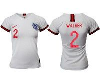Women 19-20 Soccer England National Team #2 Walker White Home Short Sleeve Jersey