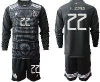 Mens 19-20 Soccer Mexico National Team #22 H.lozano Black Home Long Sleeve Suit Jersey