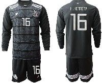 Mens 19-20 Soccer Mexico National Team #16 H.herrera Black Home Long Sleeve Suit Jersey