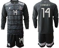 Mens 19-20 Soccer Mexico National Team #14 Hernandez Black Home Long Sleeve Suit Jersey
